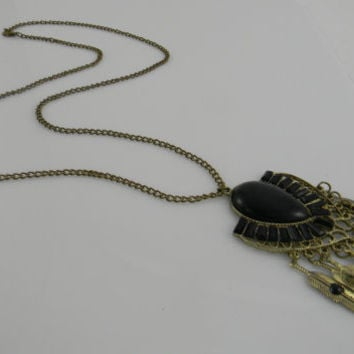 Statement Necklace - Long - Stella & Dot Style - Black and Gold Crest and Feather Tassel