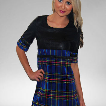 Skooled Blue Tartan Shift Dress