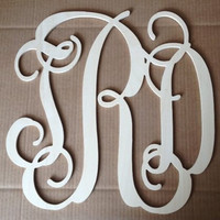 18 Connected Vine wooden monogram wall by tHrEeJuMpiNgMoNkEys