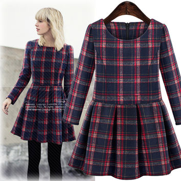 Plaid Long-Sleeve Pleated Dress