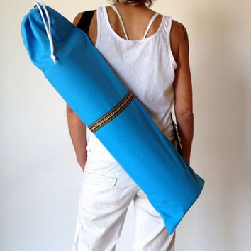 Turquoise Blue  YOGA / PILATES mat bag with Brown / Yellow / Orange / woven aztec stripe 100% strong cotton CANVAS. Re-enforced stitching