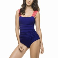 Estivo Blue Draping One Piece Swimsuit