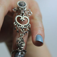 Zircon filigree heart antique rose armor gift idea vintage long finger ring double one finger midi knuckle beaded jewelry ring