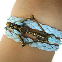 Combined Bracelet / Antiqued Bronze Disney Brave Inspired Merida Bow Bracelet / Blue Braid, Blue Wax Rope / Best Gift