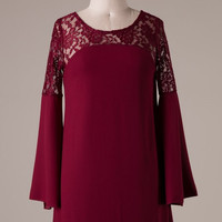 Bell Sleeve and Lace Dress