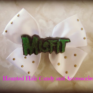 Misfit Bow and Studs Haunted Hair Candy Clips