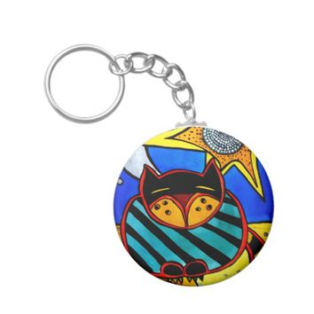 Sun And Moon Colorful Cat Design Keychain