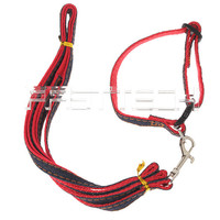 Adjustable Pet Dog Nylon + Jean Collar Strap Leash