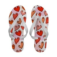 Fun Orange Valentine's hearts Sandals