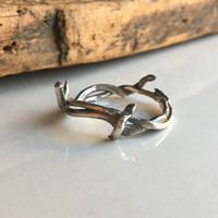 Crown of Thorn Rings, Fine Silver Twig Ring, Size 9, .99 Silver, Kiln Fired, Artisan Ring, Silver Band Ring, Branch Ring