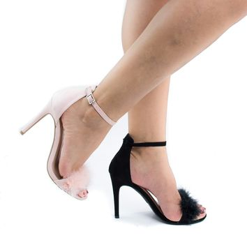 Berlin127 Nude By Wild Diva, Fluffed Faux Feathered Stiletto Heel Sandals