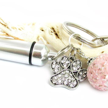 Pink Paw Charm Keychain - Pet Loss Gift