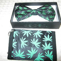 BLACK WITH GREEN MARIJUANA MJ WEED LEAVES ADJUSTABLE  BOW TIE & MATCHING WALLET