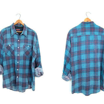 Vintage Retro Men's J.Crew Shirt Blue Red Green Plaid Distressed Buttonup Long Sleeve Large AfKf0uO