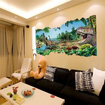 World Park Dinosaurs Wall Stickers for Kids Rooms Boy room Decoration 3d window effect Wall Decals Poster Wall paper mural