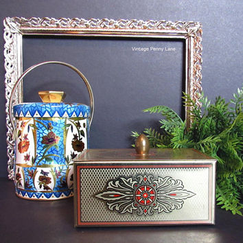 2 Vintage Tins / Containers, Metal Trinket Boxes, Tin Lot