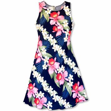 Orchid Play Blue Rhythm Hawaiian Dress