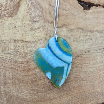 Green and Blue Heart ~  Dragon Vein Agate Stone Pendant on a Sterling Silver Chain ~ Agate Necklace ~ Dragon Vein Stone  ~ Natural Stone