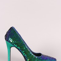 Iridescent Sequins Pointy Toe Stiletto Pump