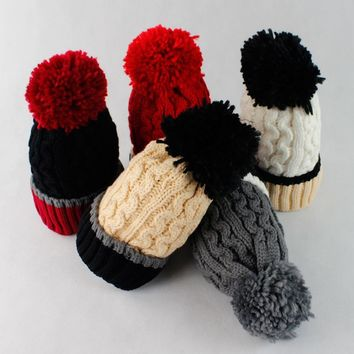 KNB029 Winter Twist Pattern Striped Thick Pom Pom Hairball Knitted Caps Beanies Patchwork Women Fluffy Warm Knit Hats