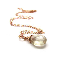 Rose gold sunstone necklace, Oregon sunstone jewelry, champagne gemstone pendant necklace, rose gold necklace, rose gold minimalist jewelry