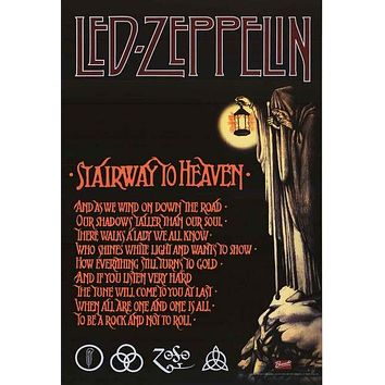 Led Zeppelin Stairway to Heaven Lyrics Poster 24x36