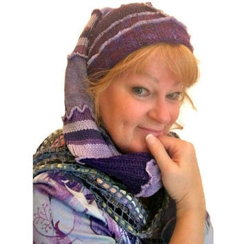 Purple Hat, Snowboard Hat, Ski Hat, Upcycled Hat, OOAK Toboggan, Upcycled Clothing, Elf Hat, Pixie Hat, Boho Hat, Hippie Hat, Gift for Her