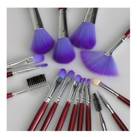 iLoveCos Makeup Brushes Set 16PCS Eyeshadow Lip Brush Set Multifunctional Premium Wood Handle Foundation Blending Blush Cosmetics Eyeliner Face Powder Makeup Brush Kit With Portable Makeup Bag