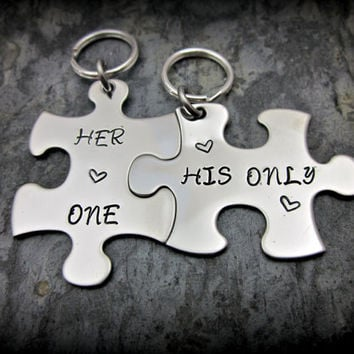 His and Hers Keychains  Her One His Only by ShawnaLaneCreations