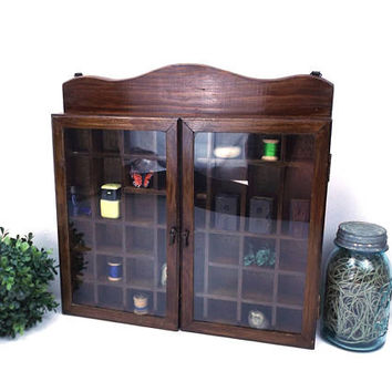 vintage 70s wood miniature curio cabinet glass hinged doors knick knacks shelf small display case home decor traditional mini collectible