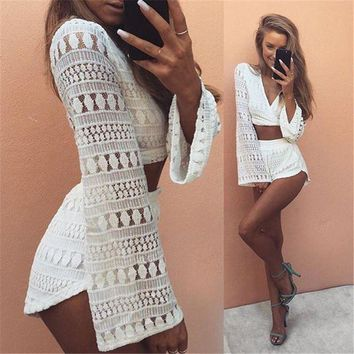 DCCKU62 2016 2pcs Hollow Out White Lace Elegant Jumpsuit Rompers Sexy Deep V-neck Playsuit Long Sleeve Summer Women Beach Overalls