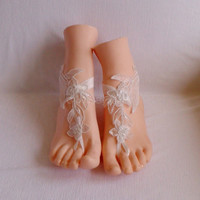 Free ship  ivory  wedding barefoot sandles wedding prom party steampunk bangle beach anklets bangles bridal bride bridesmaid
