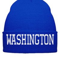 WASHINGTON EMBROIDERY HAT - Beanie Cuffed Knit Cap