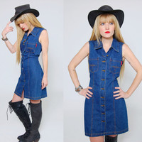 Vintage 90s DENIM Mini Dress Sleeveless Button Up Jumper Boho Mini Dress Grunge Denim Fitted Dress