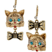 Betsey Johnson Gold Tone Cat and Bow Mismatch Drop Earrings