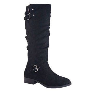 HUGE SALE! Buckle Detail Tall Black Suede Riding Boots