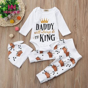 Newborn Infant Baby Girl Boy Letter Romper Tops+Crown Pants Hat 3pcs Clothes Set Long Sleeve Fashion Babe Clothing Sets 2017 New
