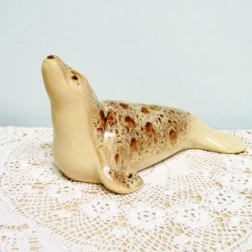 Fosters Pottery Seal, Honeycomb Glaze, Brown and Cream, Caramel and Cream, Studio Pottery, Marine Mammal, mid century, 1970's, Cornwall