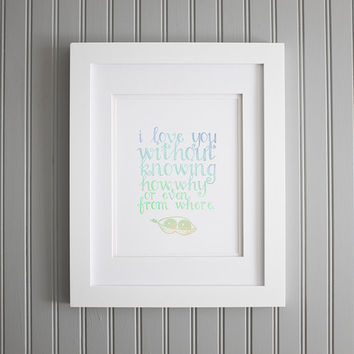 I Love You Print, Valentine's Day Print, Romantic Movie Quote Love Poster, Love Art Print Decor Poster, Patch Adams Quote Wall Art