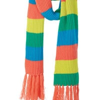 Striped Fringe Shaker Knit Scarf - Coral