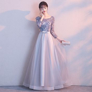Prom Gown Simple Lace Up Flower Pattern Bow Prom Dresses Dancing Party