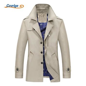Covrlge Men's Trench Coat Fashion Casual Long Windbreaker Turn-down Overcoat Plus Size Classic Trenchcoat MWF004