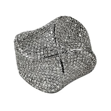 3.15ct Pavé Diamonds in 925 Sterling Silver Flower Cocktail Ring