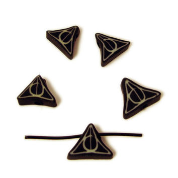 Deathly Hallows Beads Harry Potter Symbol Line Circle and Triangle by MagicByLeah