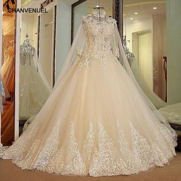 LS27790 11.11 wedding dress 2017 high neck Bling Rhinestone Ball Gown Sexy Transparent Back Lace Wedding Gowns with long cape