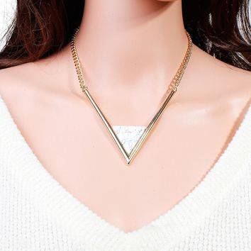 "Gold Plated V-shaped White Gem Stone Choker Necklaces (14 6/8"") long"