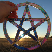 Wiccan Sun Catcher, Yule Decoration, Stained Glass Pentagram, Pagan Artwork, Wicca Decor, Pentangle, Pentagon Star, 7.5 Inches