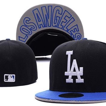 auguau Los Angeles Dodgers New Era MLB Authentic Collection 59FIFTY Cap Black-White LA