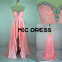 Sweetheart sleeveless floor-length pink organza with crystal beading long prom/Evening/Party/Homecoming/cocktail /Bridesmaid/Formal Dress