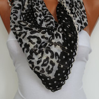 Anatolian Yemeni Shawl Scarf - Oya - Yemeni - Cowl Headband Necklace - Leopard- Black White- Crochet edge- New